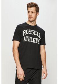 Czarny t-shirt Russell Athletic z nadrukiem, casualowy, na co dzień