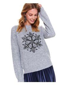 TOP SECRET - Sweter z błyszczącą aplikacją. Kolor: szary. Długość rękawa: długi rękaw. Długość: długie. Wzór: aplikacja. Sezon: zima. Styl: wizytowy