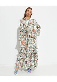 NEEDLE & THREAD - Sukienka maxi Esther. Kolor: zielony. Materiał: wiskoza. Wzór: nadruk, aplikacja, kwiaty. Typ sukienki: proste. Długość: maxi