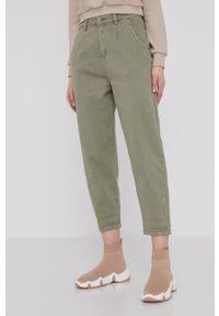 Zielone jeansy loose fit Answear Lab gładkie, wakacyjne, z podwyższonym stanem