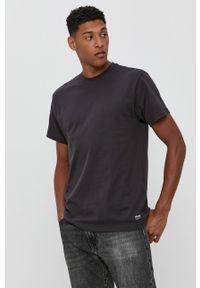 Dr. Denim - T-shirt bawełniany. Okazja: na co dzień. Kolor: szary. Materiał: bawełna, denim. Wzór: gładki. Styl: casual