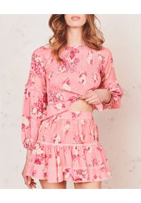 LOVE SHACK FANCY - Różowa spódnica Jennings. Kolor: fioletowy, różowy, wielokolorowy. Materiał: bawełna, koronka. Wzór: nadruk, kwiaty. Sezon: lato. Styl: klasyczny