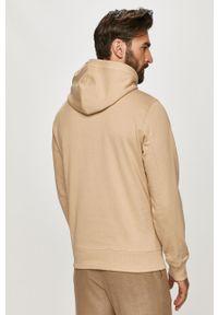 Beżowa bluza nierozpinana Calvin Klein Jeans gładkie, z kapturem
