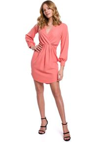 MOE - Sukienka z Długim Bufiastym Rękawem - Pomarańczowa. Kolor: pomarańczowy. Materiał: poliester, elastan