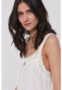 Pepe Jeans - Sukienka Brenda. Kolor: biały. Materiał: tkanina, koronka. Długość rękawa: na ramiączkach. Wzór: gładki. Typ sukienki: rozkloszowane
