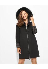 CINZIA ROCCA - Czarny płaszcz z futrzanym obszyciem. Kolor: czarny. Materiał: futro. Długość: długie