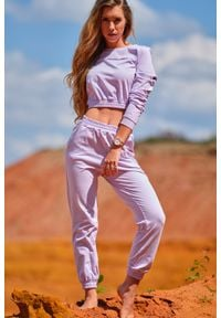 Infinite You - Klasyczne Dresowe Spodnie na Gumie - Purpurowe. Kolor: fioletowy. Materiał: dresówka, guma