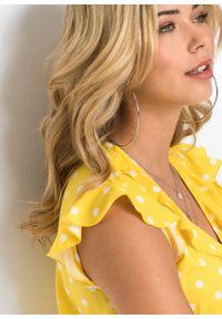 Bluzka z falbanami bonprix żółto-biały w groszki. Kolor: żółty. Wzór: grochy