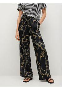 mango - Mango Spodnie materiałowe Chain 87026330 Czarny Regular Fit. Kolor: czarny. Materiał: materiał