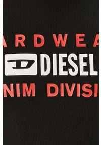 Czarna bluza nierozpinana Diesel z nadrukiem, na co dzień, casualowa, z kapturem