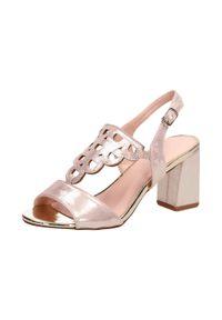 Złote sandały Vinceza na średnim obcasie, na słupku, klasyczne