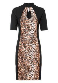 Sukienka ołówkowa bonprix beżowo-czarny leo. Kolor: beżowy. Wzór: nadruk. Typ sukienki: ołówkowe
