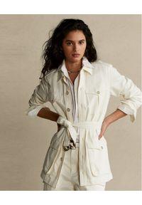 Ralph Lauren - RALPH LAUREN - Biała kurtka Safari Straight fit. Typ kołnierza: polo. Kolor: biały. Materiał: materiał. Długość rękawa: długi rękaw. Długość: długie