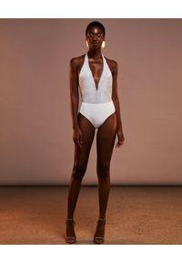 CHIO - Jednoczęściowy strój kąpielowy z cekinami. Kolor: biały. Materiał: materiał. Wzór: aplikacja