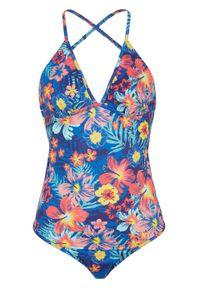 Kostium kąpielowy z przyjaznego dla środowiska materiału, dł. W bonprix ciemnoniebieski w kwiaty. Kolor: niebieski. Materiał: materiał. Wzór: kwiaty