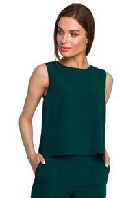 MOE - Krótka Bluzka bez Rękawów - Zielona. Kolor: zielony. Materiał: wiskoza, poliester, elastan. Długość rękawa: bez rękawów. Długość: krótkie