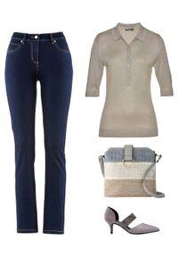 Szary sweter bonprix polo, z krótkim rękawem, melanż