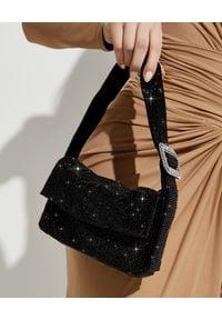 BENEDETTA BRUZZICHES - Czarna kryształowa torebka Monique Jet Black. Kolor: czarny. Rodzaj torebki: na ramię