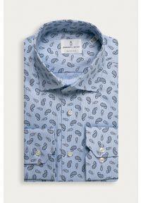 Emanuel Berg - Koszula bawełniana. Typ kołnierza: kołnierzyk włoski. Kolor: niebieski. Materiał: bawełna