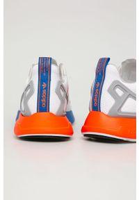 Białe sneakersy adidas Originals na sznurówki, Adidas ZX, z cholewką