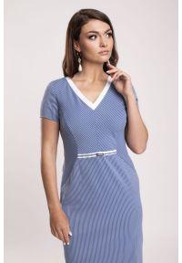 Niebieska sukienka Vito Vergelis na spotkanie biznesowe, z klasycznym kołnierzykiem, w prążki, na lato