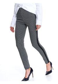 Czarne legginsy TOP SECRET na co dzień, sportowe, w kolorowe wzory, na wiosnę
