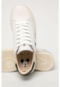 Białe sneakersy MOA Concept na obcasie, na sznurówki, na niskim obcasie, z cholewką