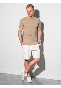 Ombre Clothing - T-shirt męski bawełniany basic S1370 - beżowy - XXL. Kolor: beżowy. Materiał: bawełna. Styl: klasyczny