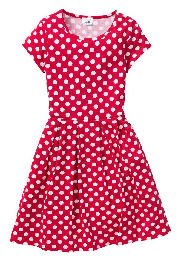 Sukienka dziewczęca shirtowa w groszki bonprix czerwono-biały w groszki. Kolor: czerwony. Wzór: grochy