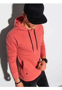 Ombre Clothing - Bluza męska z kapturem B1154 - koralowa - XXL. Typ kołnierza: kaptur. Kolor: pomarańczowy. Materiał: poliester, bawełna