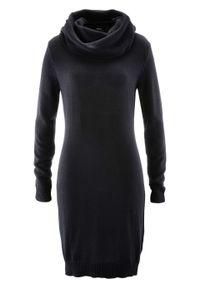 Czarna sukienka bonprix z golfem