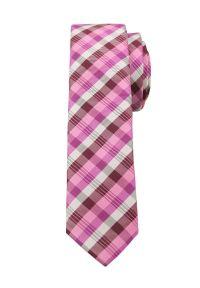 Alties - Różowy Stylowy Krawat (Śledź) w Kratkę -ALTIES- 5 cm, Wąski, Męski. Kolor: różowy. Materiał: tkanina. Wzór: kratka. Styl: elegancki