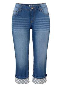 Niebieskie jeansy bonprix z podwyższonym stanem, w kolorowe wzory