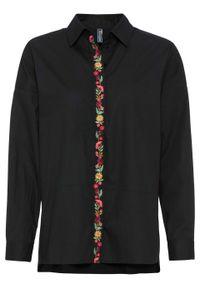 Czarna bluzka bonprix z haftami, długa