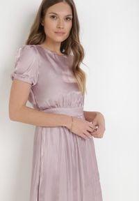 Born2be - Liliowa Sukienka Halpheno. Kolor: fioletowy