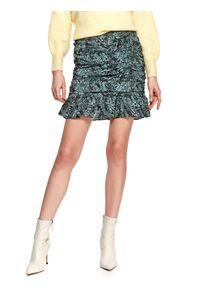 TOP SECRET - Krótka spódnica we wzory, z marszczeniami i falbaną. Stan: podwyższony. Kolor: czarny. Materiał: tkanina. Długość: krótkie. Sezon: wiosna