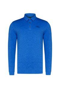 Niebieska koszulka polo Chervo z długim rękawem, polo, melanż