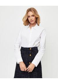 Pinko - PINKO - Biała koszula z nadrukiem Rexford. Okazja: do pracy, na spotkanie biznesowe. Kolor: biały. Długość rękawa: długi rękaw. Długość: długie. Wzór: nadruk. Styl: biznesowy, klasyczny, elegancki