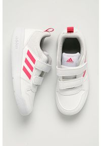 Białe buty sportowe Adidas z okrągłym noskiem, z cholewką, na rzepy