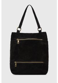 Answear Lab - Plecak zamszowy. Kolor: czarny. Materiał: zamsz. Styl: wakacyjny
