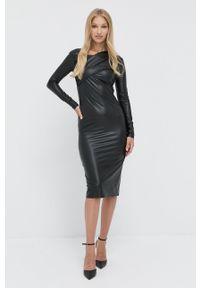 Patrizia Pepe - Sukienka. Kolor: czarny. Materiał: tkanina, skóra. Długość rękawa: długi rękaw. Typ sukienki: dopasowane