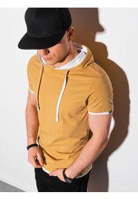 Ombre Clothing - T-shirt męski z kapturem bez nadruku S1376 - musztardowy - XXL. Okazja: na co dzień. Typ kołnierza: kaptur. Kolor: żółty. Materiał: bawełna, jersey, dzianina. Styl: klasyczny, casual