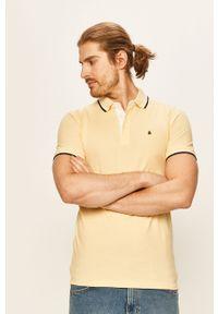 Żółta koszulka polo Jack & Jones casualowa, gładkie, polo