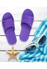 REALPAKS - Klapki damskie Realpaks SLJ-13 Fioletowe. Okazja: na plażę. Kolor: fioletowy. Materiał: tworzywo sztuczne. Sezon: lato. Obcas: na obcasie. Wysokość obcasa: niski