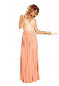 Pomarańczowa sukienka Numoco maxi, bez rękawów, wizytowa