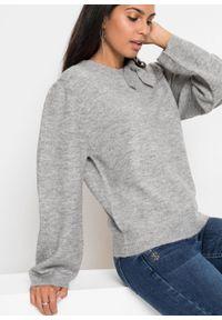 Szary sweter bonprix melanż, z kokardą