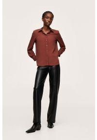 mango - Mango - Koszula Basic. Okazja: na co dzień. Kolor: czerwony. Materiał: włókno. Długość rękawa: długi rękaw. Długość: długie. Styl: casual