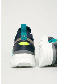 Niebieskie sneakersy Karl Lagerfeld z cholewką, na sznurówki