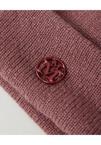 MAISON MICHEL PARIS - Różowa czapka. Kolor: różowy, fioletowy, wielokolorowy. Materiał: kaszmir. Wzór: aplikacja. Sezon: jesień. Styl: klasyczny