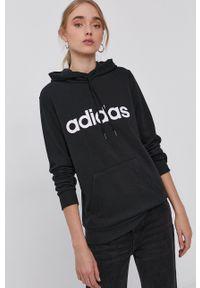 Adidas - adidas - Bluza. Okazja: na co dzień. Kolor: czarny. Materiał: bawełna, dzianina, poliester. Długość rękawa: długi rękaw. Długość: długie. Wzór: nadruk. Styl: casual